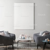 Mock Up Poster In Living Room Hipster Background stock ...