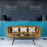 Modern Room Interior Brown Leather Sofa On Marble Flooring And Dark With Green Wall 3d Render Stock Illustration Download Image Now Istock