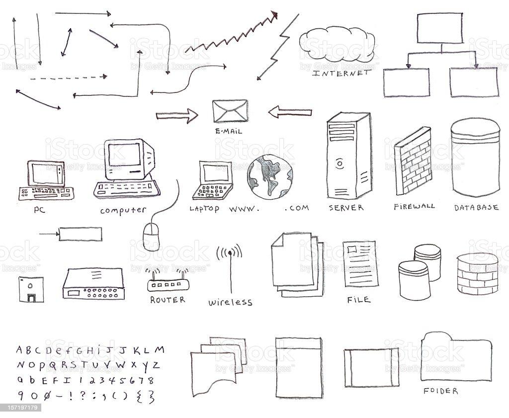 Communication Sketch Network Server Diagram Clip Art Vector