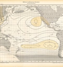 november air pressure chart pacific ocean german antique victorian engraving 1896 illustration  [ 1024 x 907 Pixel ]