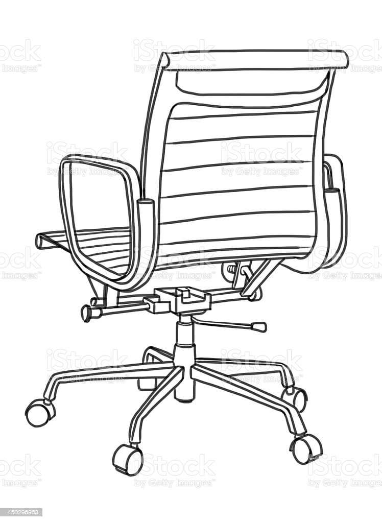 Office Chair Hand Drawing Illustration Stock Vector Art