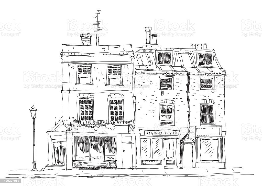 Old English Town House London Sketch Collection stock
