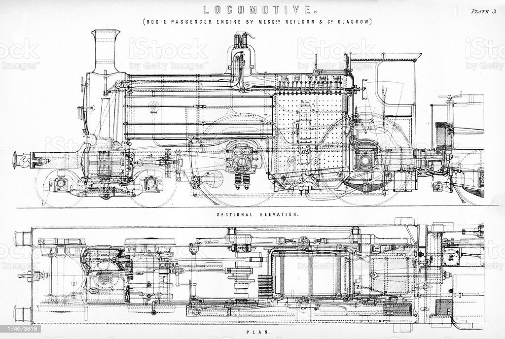 Old Fashioned Steam Train Locomotive Stock Illustration