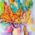 Original Malen Mit Wasserfarben Moderne Kunst Abstrakte Herbstblatter Stock Vektor Art Und Mehr Bilder Von Abstrakt Istock