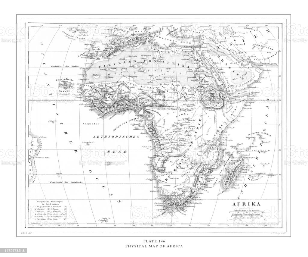 Physical Map Of Africa Engraving Antique Illustration Published 1851 Stock Illustration Download Image Now Istock