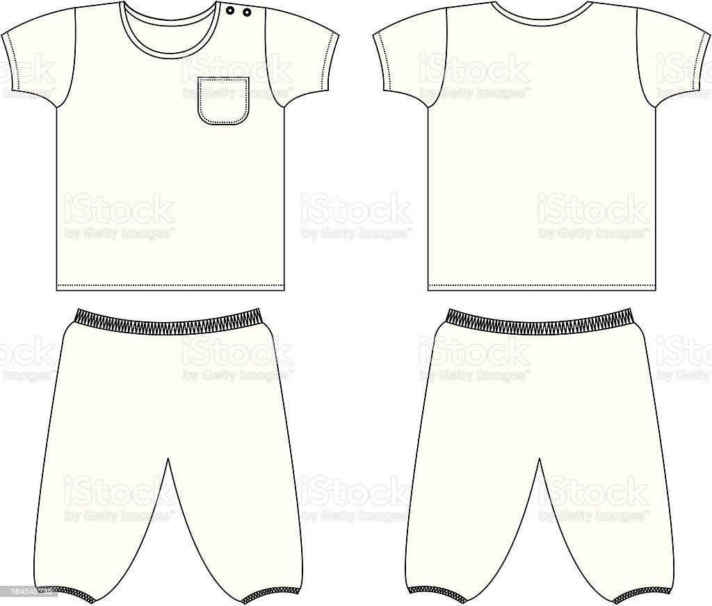 Plain Boys Pyjamanightwear Set Template Stock Illustration