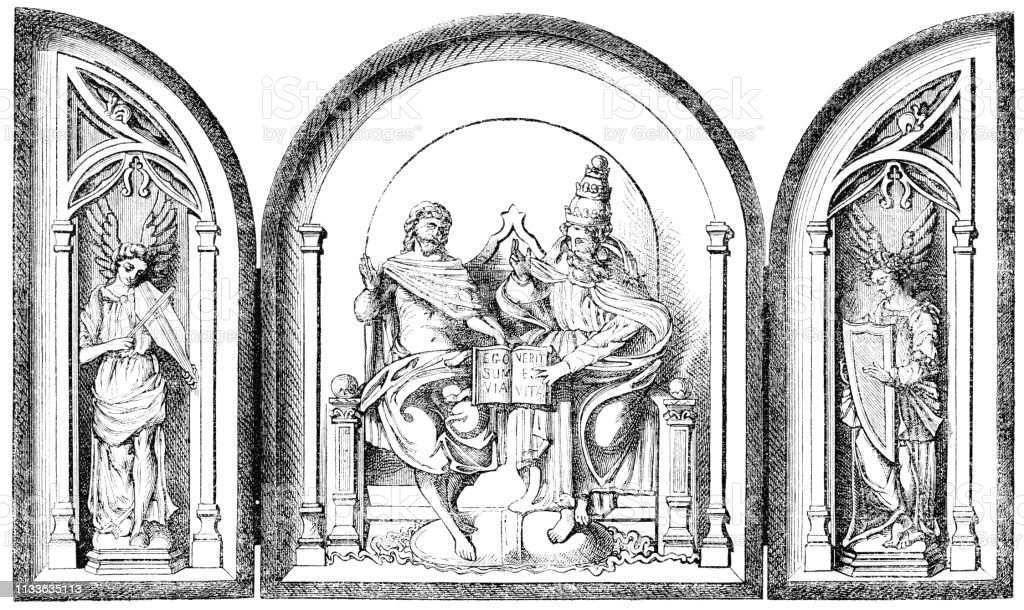 renaissance triptych un tableau de devotion 16th century stock illustration download image now istock