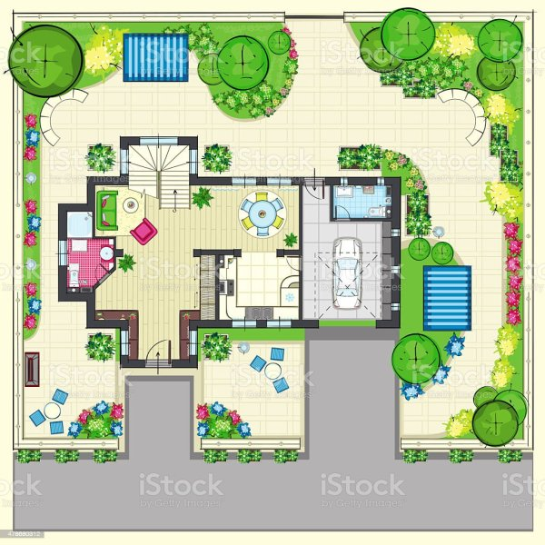 residential house plan with beautiful