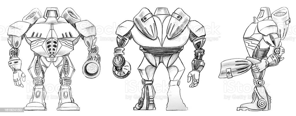 Robot Transformer Sketch Stock Vector Art & More Images of