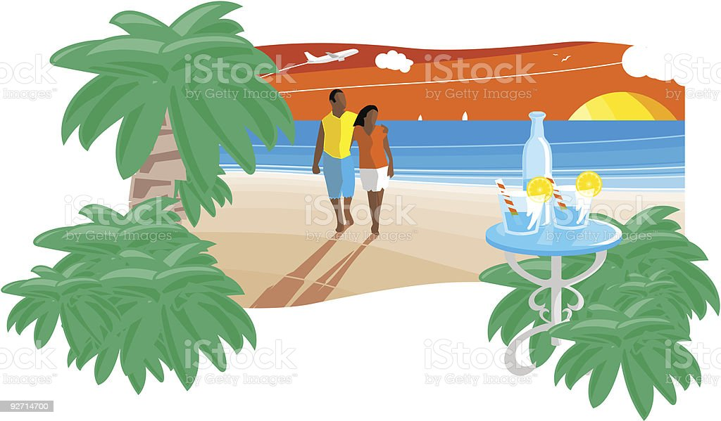 royalty free sunset beach clip