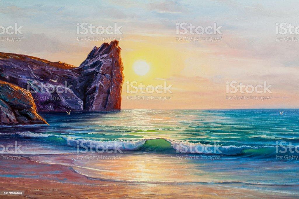 seascape painting sea wave