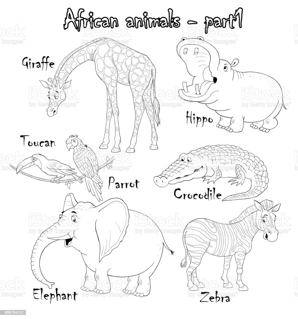 Set Of Cute African Animals Coloring Page Funny Cartoon