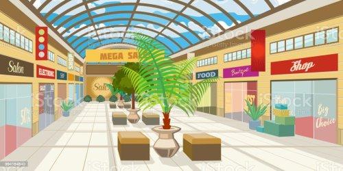 mall shopping roof corridor vector panoramic cartoon illustration clothing vectors blurred illustrations save