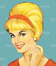 smiling woman with bouffant hairstyle