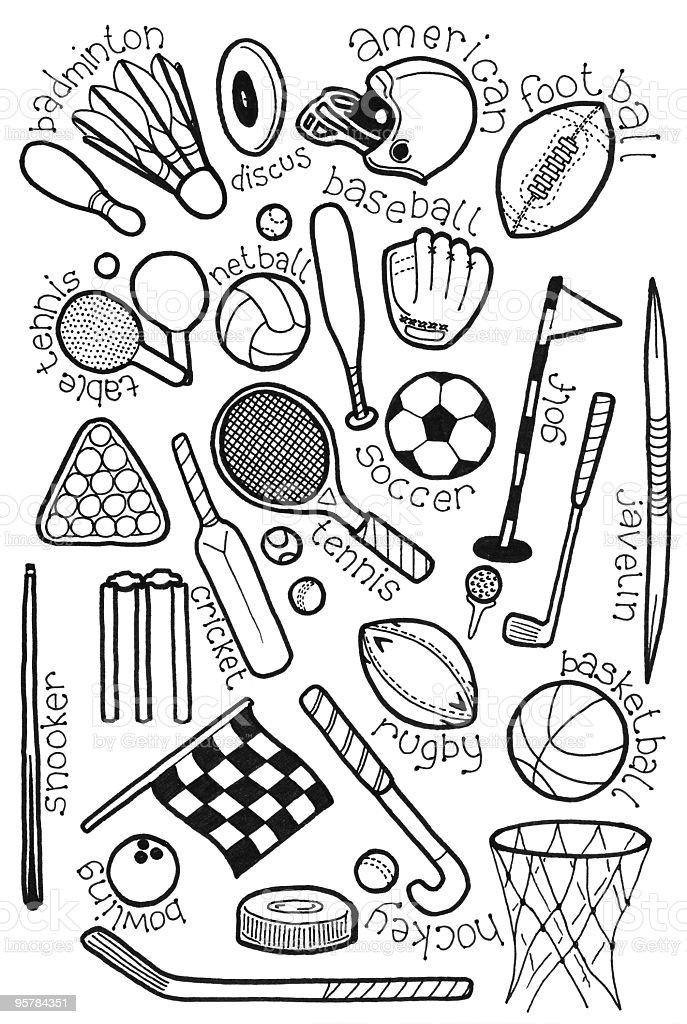 Sport Doodles Stock Vector Art & More Images of Badminton