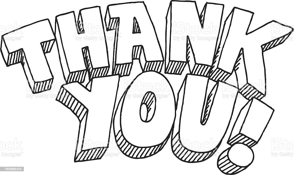 Thank You Lettering Drawing Stock Vector Art & More Images