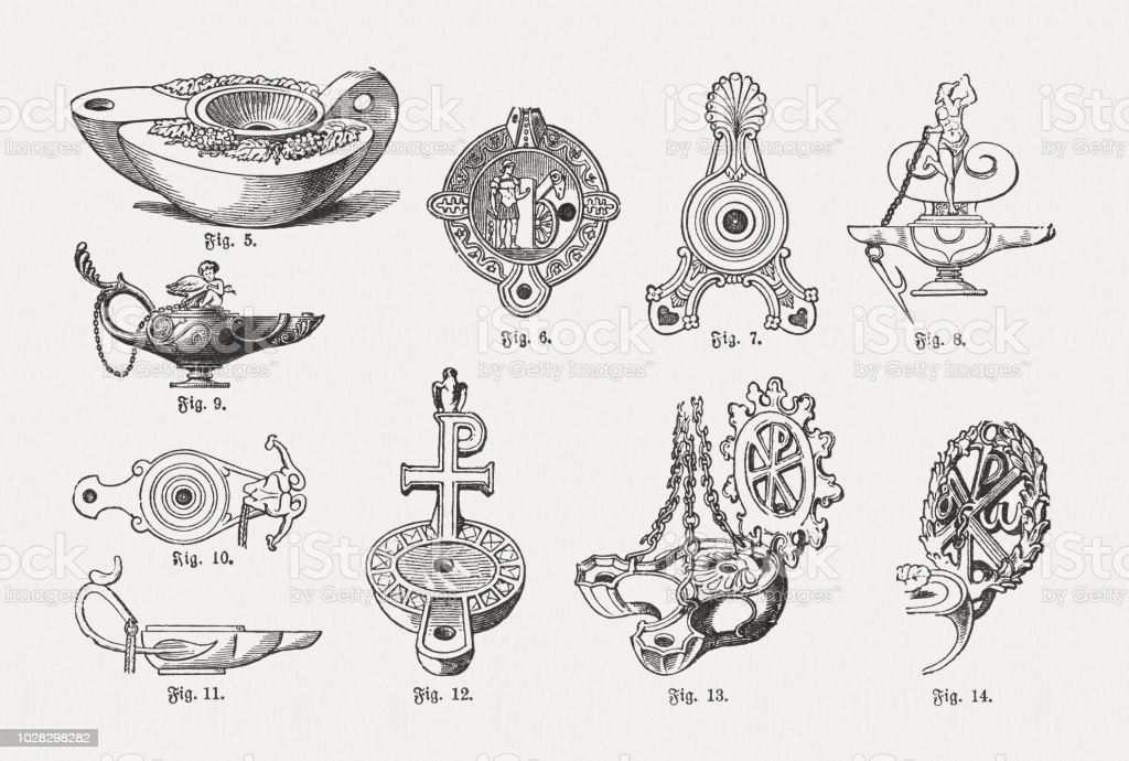 Various Forms Of Antique Oil Lamps Wood Engravings