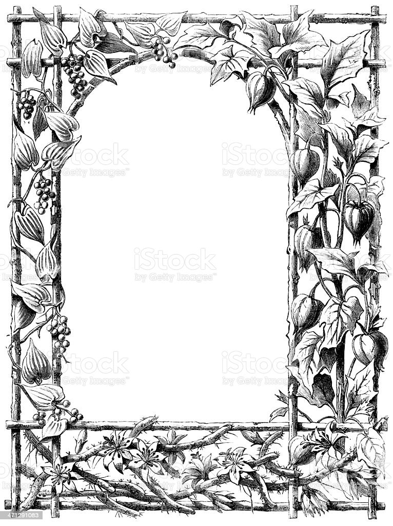 Victorian Border Of Vines And Trellis Stock Vector Art