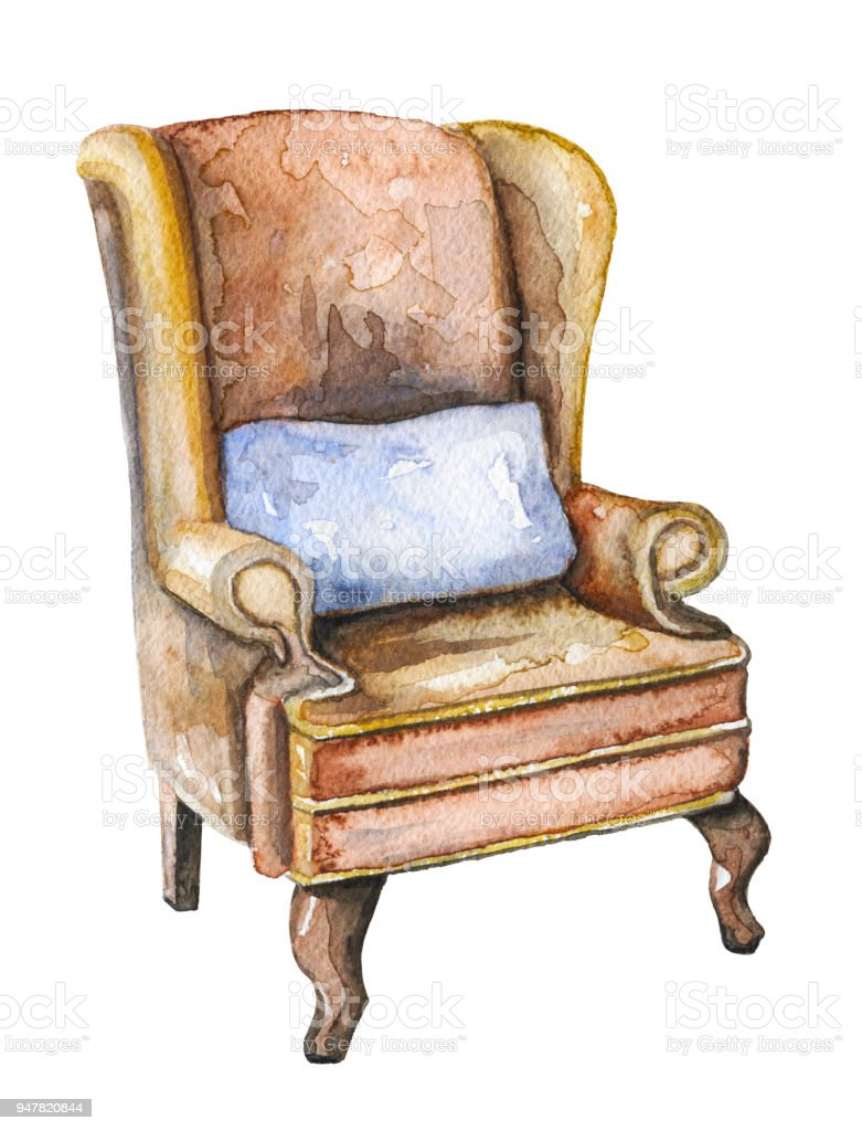 vintage arm chair wedding chairs hire johannesburg watercolor armchair of sherlock holmes stock vector art more illustration