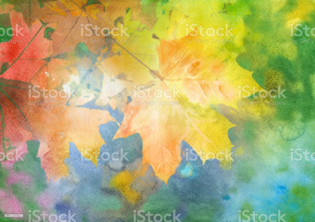 Fall Leaves Watercolor Wallpaper Watercolor Autumn Background Stock Vector Art Amp More