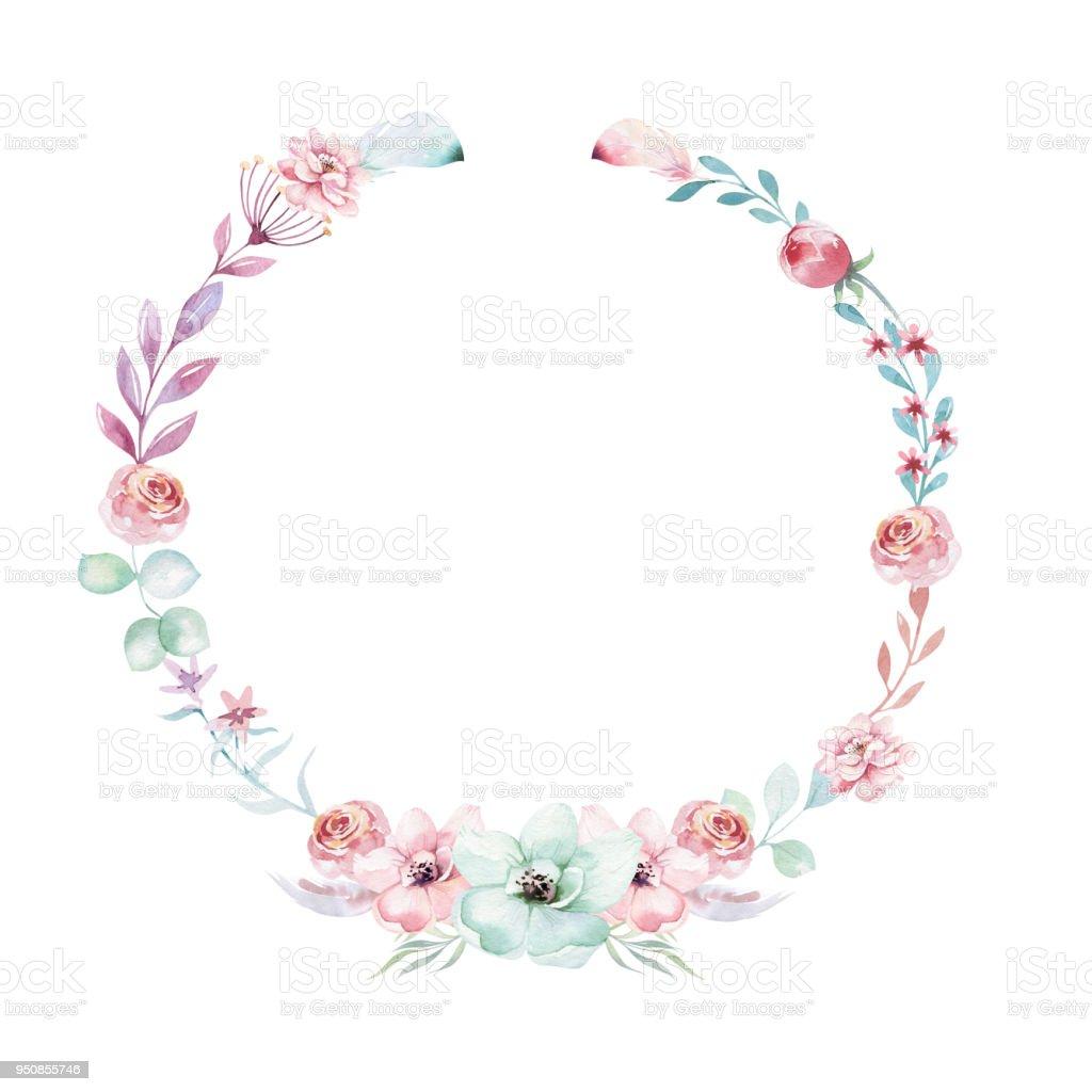 Watercolor Boho Floral Wreath Bohemian Natural Frame