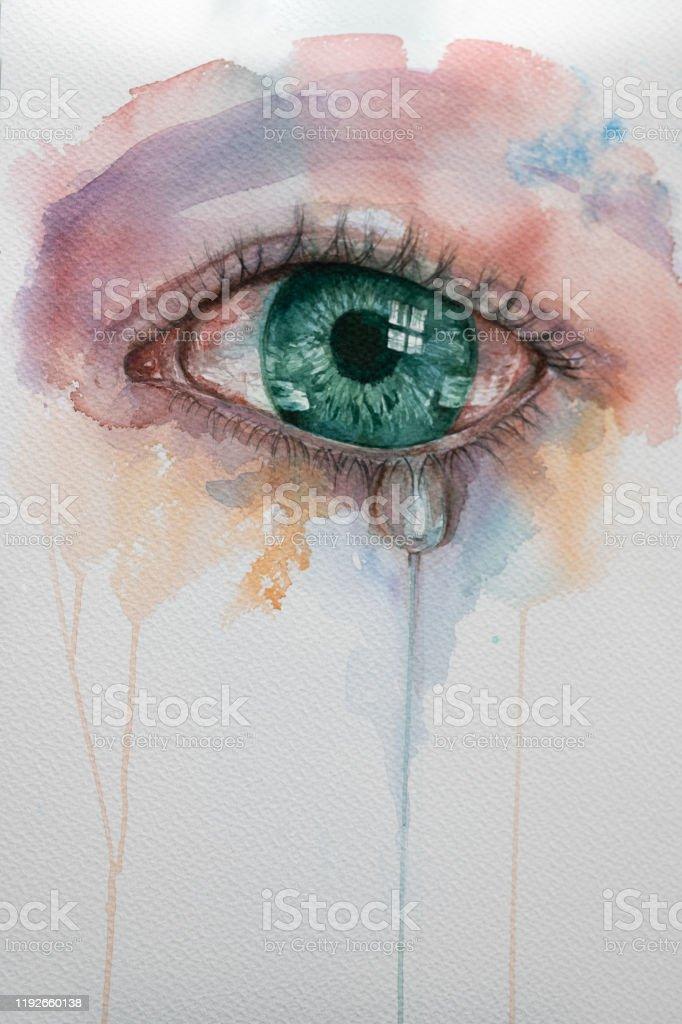 Heartbroken Cry Eye Draw : heartbroken, Watercolor, Tears, Stock, Illustration, Download, Image, IStock