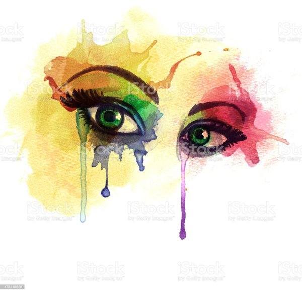 Crying Eye Watercolor Paintings