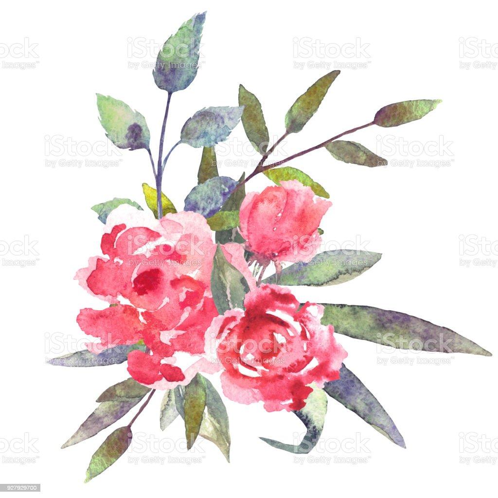 Aquarell Blumen Bltter Blumenstrau Stock Vektor Art und