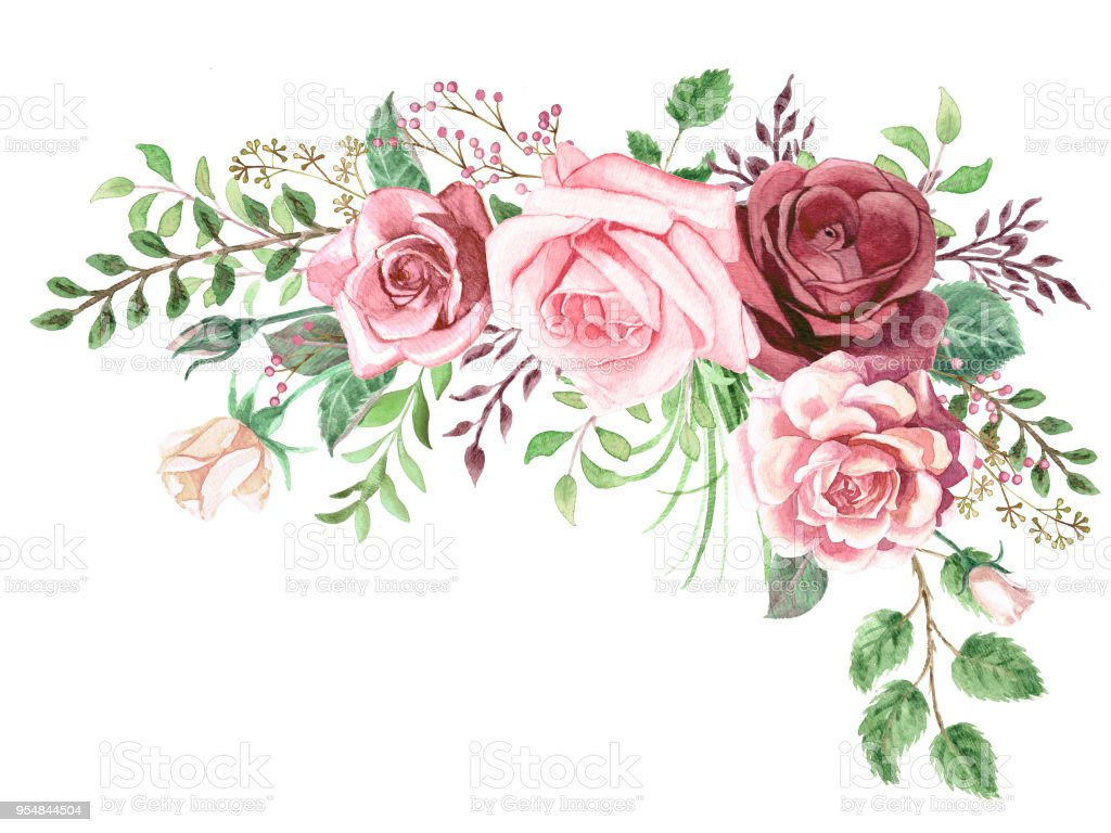Orange Fall Peony Wallpaper Watercolor Greenery And Roses Corner Bouquet Stock Vector