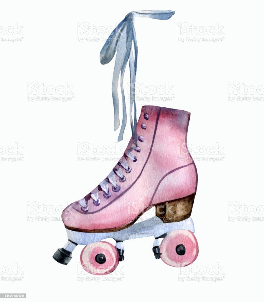 aquarelle main peint patin a roulettes vintage rose vecteurs libres de droits et plus d images vectorielles de a la mode istock