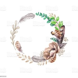 rustic floral wedding flowers leaves boho clip flower watercolor frame round blank feathers template background vector wreath illustration banner card