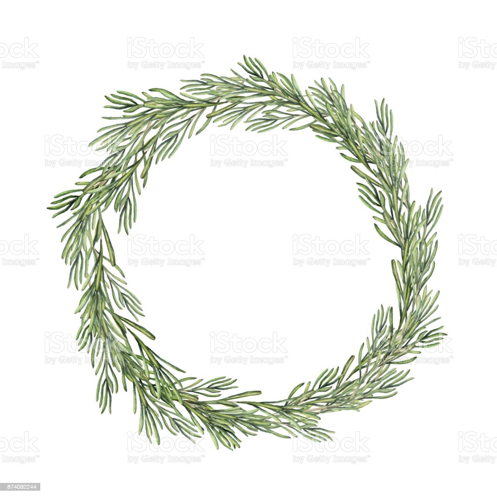 Watercolor Rosemary Wreath Hand Painted Rosemary Branch