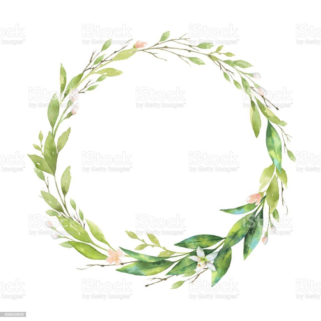 Top 60 Floral Wreath Watercolor Clip Art Vector Graphics