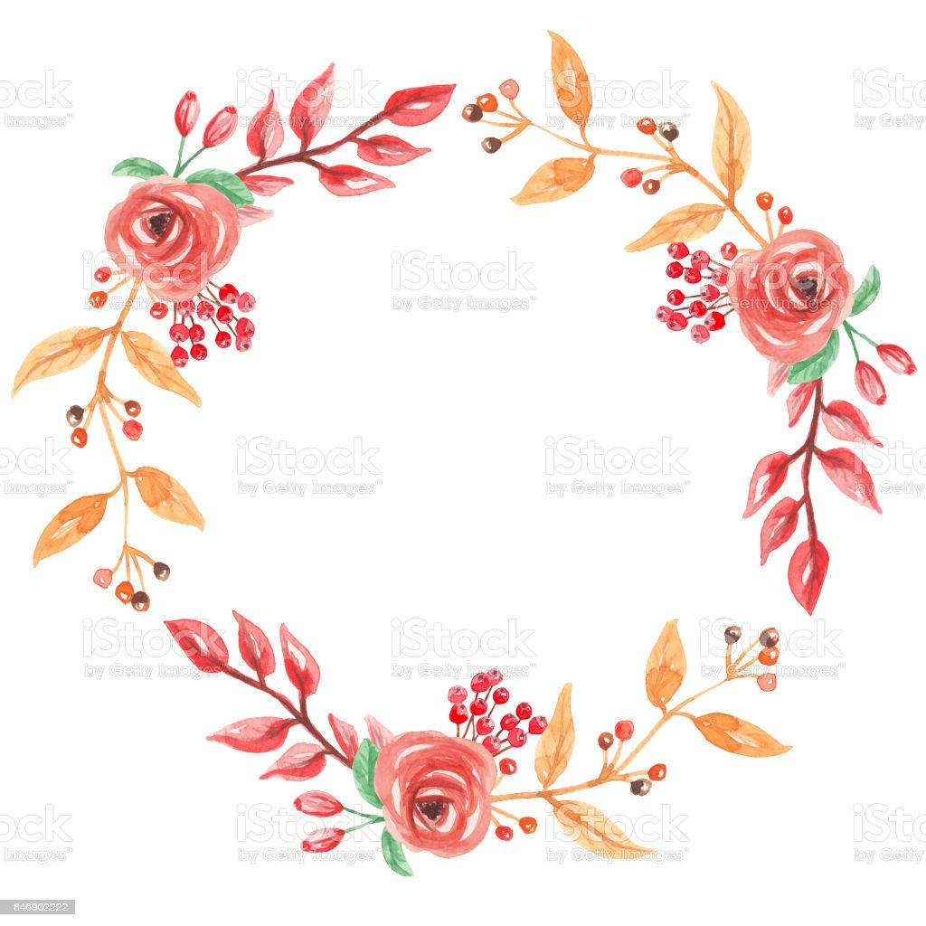 水彩手繪花圈秋色向量圖形及更多剪貼畫圖片 - iStock