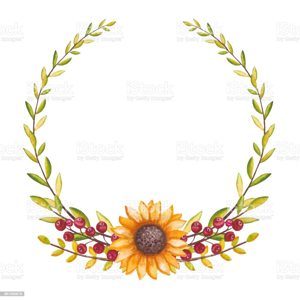 wreath with watercolor sunflower