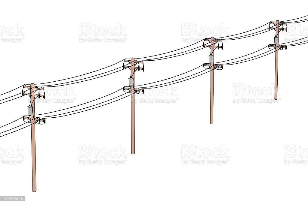 2d Cartoon Illustration Of Electric Lines Stock Photo