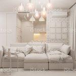 3d Illustration Living Room And Kitchen Interior Design