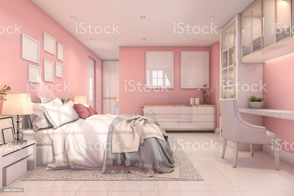 3d Rendering Beautiful Pink Vintage Kid Bedroom Stock Photo Download Image Now Istock