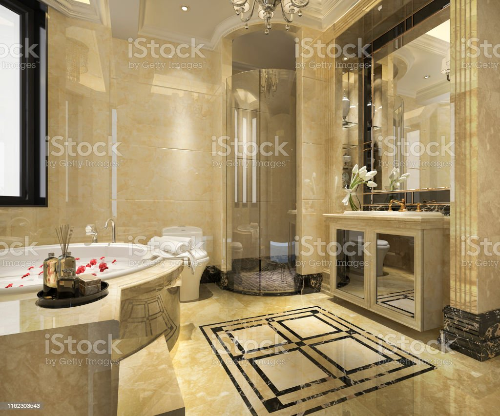 3d rendering modern classic bathroom with luxury tile decor stock photo download image now istock