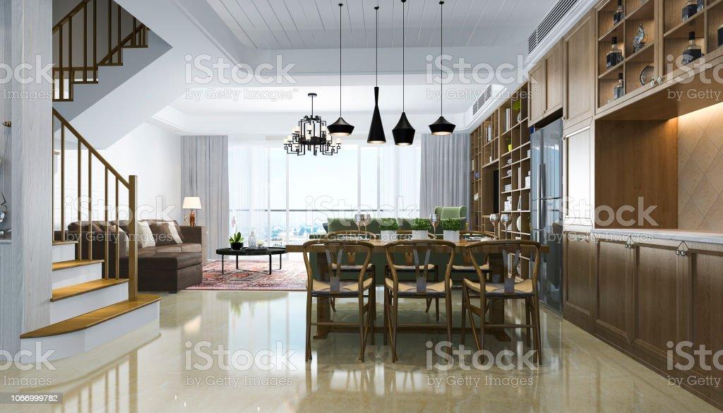 photo libre de droit de rendu 3d moderne salle a manger et salon chinois avec un decor de luxe banque d images et plus d images libres de droit de ameublement istock