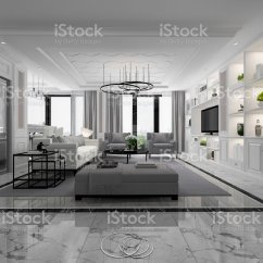 White Modern Living Room Indian Interior Design Ideas 3d Rendering With Marble Tile And Bookshelf Royalty Free Stock Photo
