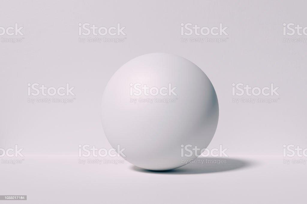 3d white concrete sphere