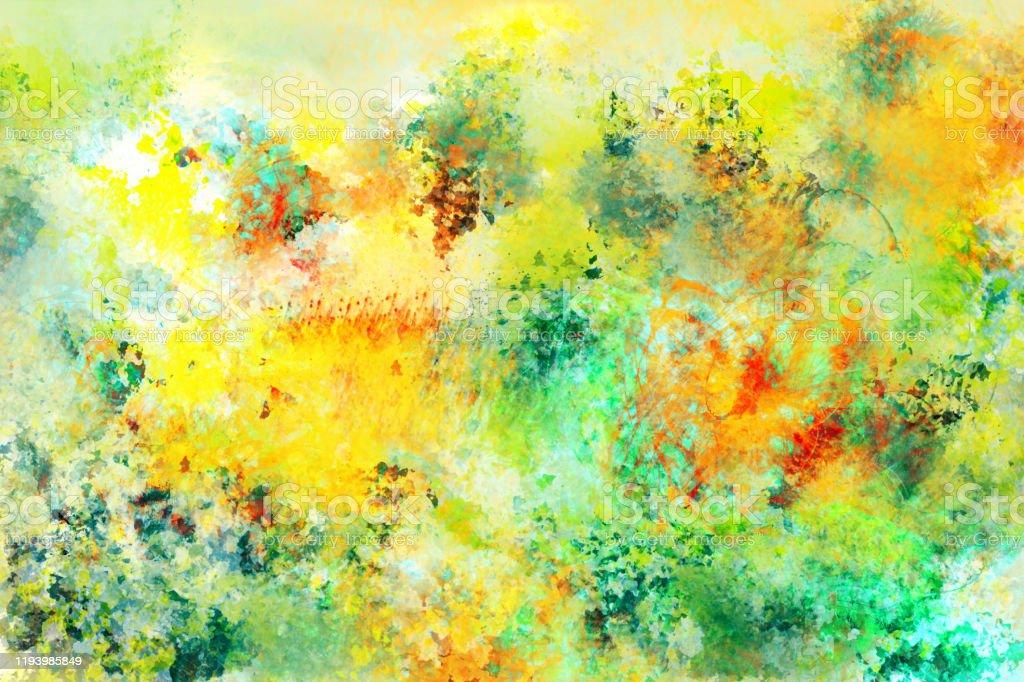 photo libre de droit de peinture moderne coloree abstraite fond texture dans les nuances de jaune vert et rouge banque d images et plus d images libres de droit de abstrait istock