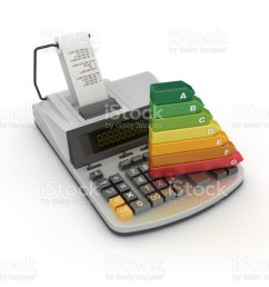 adding machine tape calculator with energy efficiency diagram 3d rendering stock image  [ 1024 x 768 Pixel ]