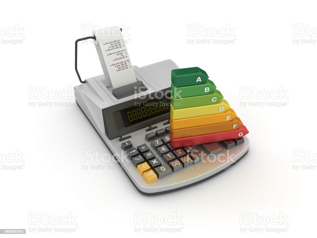 hight resolution of adding machine tape calculator with energy efficiency diagram 3d rendering stock image