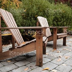 Adirondack Chairs Portland Oregon Recliner At Walmart On Cobblestone Patio Stock Photo More Pictures Royalty Free