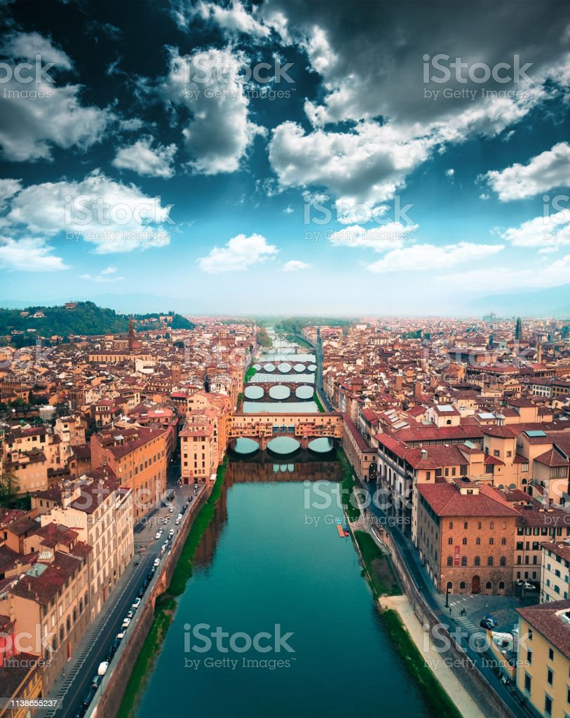Aerial View Of Ponte Vecchio In Florence Stock Photo - Download Image Now - iStock