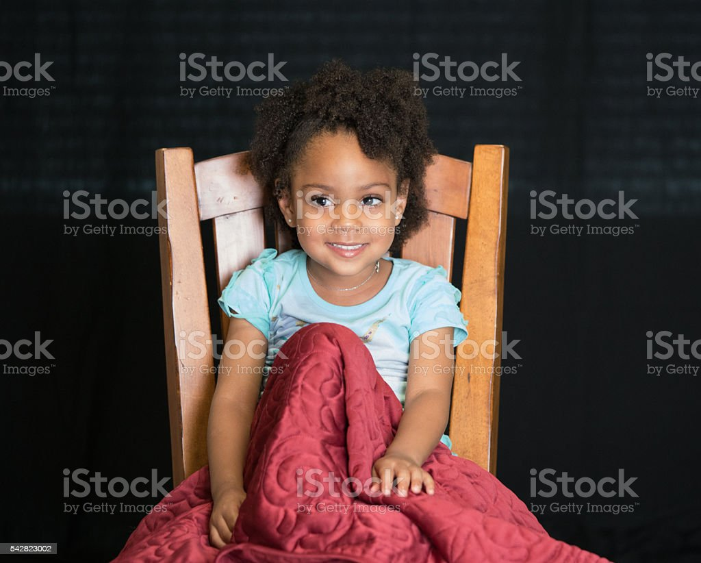 African American Young Girlchild With Natural Hair With Legs