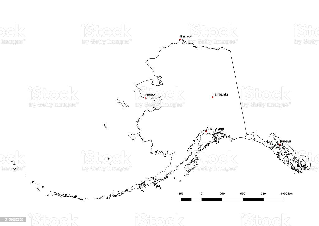 Alaska Black And White State Outline With Major Cities