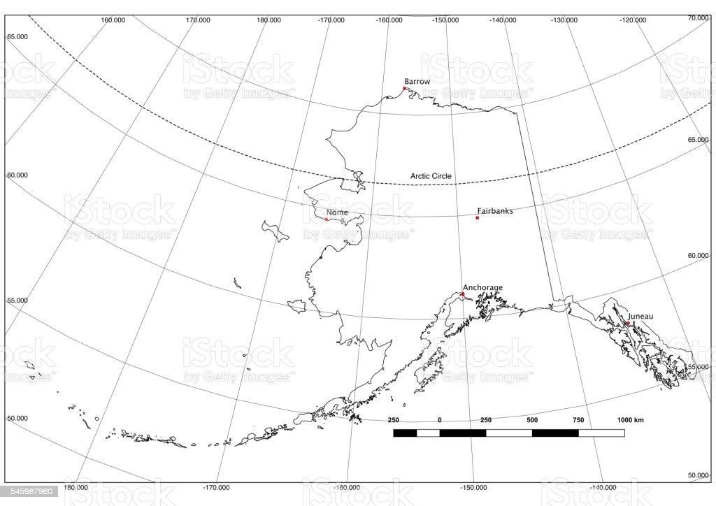 Alaska State Outline In Black And White Latlong Major